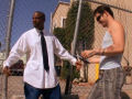 White guy pick up a black guy in the suburb Access Movie by SMS